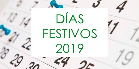 Calendario de festivos 2019 por provincias