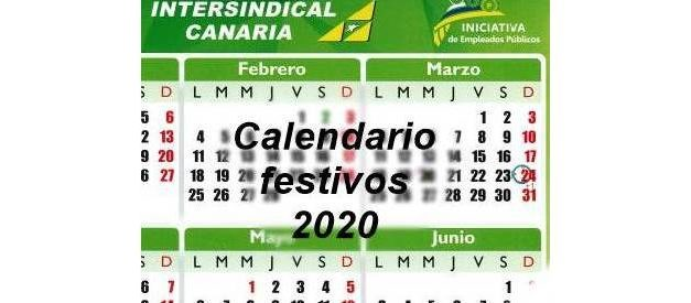 Calendario de festivos 2020 por provincias
